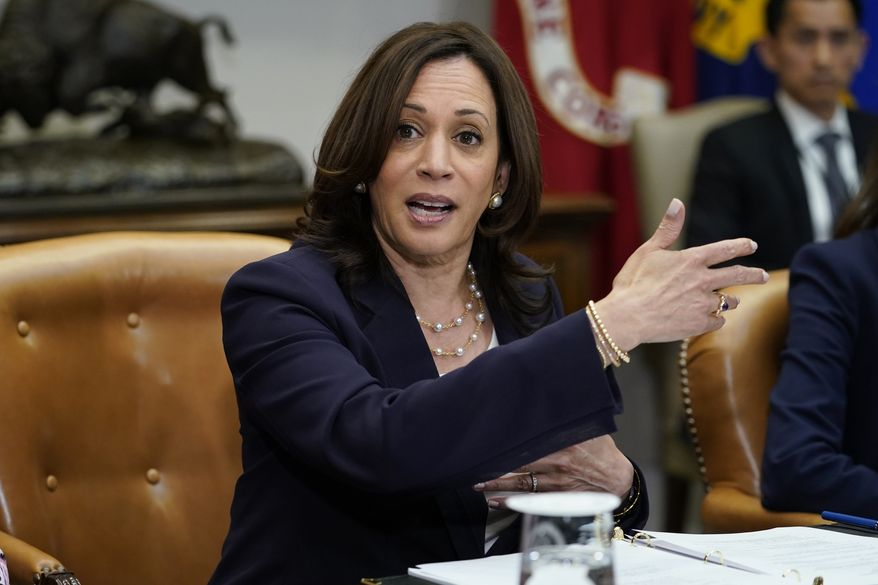 Vice President Kamala Harris speaks during a meeting with members of the Texas State Senate and Texas House of Representatives in the Roosevelt Room of the White House in Washington, Wednesday, June 16, 2021. Member of the Texas delegation in May blocked passage of legislation that would have made it significantly harder for the people of Texas to vote. (AP Photo/Susan Walsh)