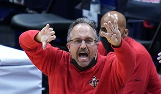 New Orleans Pelicans head coach Stan Van Gundy calls out from the bench in the second half of an NBA basketball game against the New York Knicks in New Orleans, in this Wednesday, April 14, 2021, file photo. The Knicks won 116-106. Stan Van Gundy is out as Pelicans coach following just one season at the helm. (AP Photo/Gerald Herbert, File) **FILE**