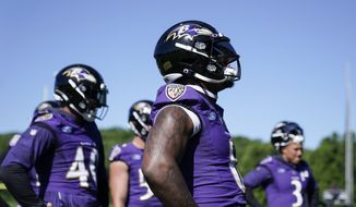 Baltimore Ravens linebacker Patrick Queen, center, works out during the team's NFL football training, Wednesday, June 16, 2021, in Owings Mills, Md. (AP Photo/Julio Cortez) **FILE**