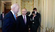 "U.S President Joe Biden, left, and Russian President Vladimir Putin walk in a hall during their meeting at the ""Villa la Grange"" in Geneva, Switzerland, Wednesday, June 16, 2021. (Mikhail Metzel/Pool Photo via AP)"
