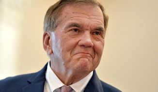 In this Jan. 3, 2020, file photo, Tom Ridge, who has serves as Secretary of Homeland Security, Pennsylvania Governor and U.S. Congressman, speaks in Erie, Pa. Ridge suffered a stroke Wednesday, June 16, 2021, at his home in suburban Washington, D.C., a longtime aide said.  (Christopher Millette/Erie Times-News via AP, File)