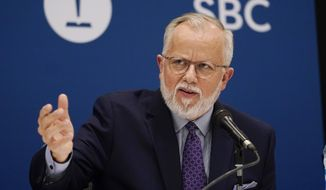 Pastor Ed Litton, of Saraland, Ala., answers questions after being elected as president of the Southern Baptist Convention Tuesday, June 15, 2021, in Nashville, Tenn. (AP Photo/Mark Humphrey) ** FILE **