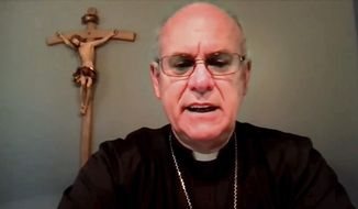 In this image taken from video, Bishop Kevin Rhoades of Fort Wayne-South Bend, Ind., discusses an agenda motion during U.S. Conference of Catholic Bishops' virtual assembly on Wednesday, June 16, 2021. (United States Conference of Catholic Bishops via AP)