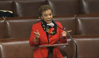 In this April 23, 2020, file image from video, Rep. Barbara Lee, D-Calif., speaks on the floor of the House of Representatives at the U.S. Capitol in Washington. The Democratic-led House, with the backing of President Joe Biden, is expected to approve legislation Thursday, June 17, 2021, to repeal the 2002 authorization for use of military force in Iraq. (House Television via AP) ** FILE **