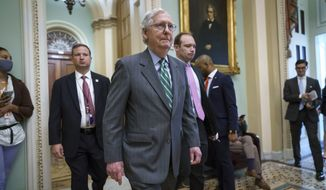 Senate Minority Leader Mitch McConnell, R-Ky., returns to the Senate chamber after a news conference to criticize the Democrat push to pass a voting rights bill, at the Capitol in Washington, Thursday, June 17, 2021. (AP Photo/J. Scott Applewhite)