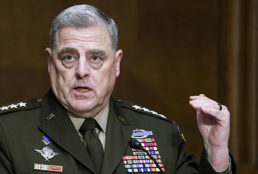 Chairman of the Joint Chiefs Chairman Gen. Mark Milley testifies before a Senate Appropriations Committee hearing, Thursday, June 17, 2021, on Capitol Hill in Washington. (Evelyn Hockstein/Pool via AP) **FILE**