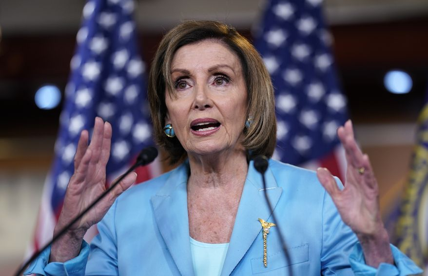 Speaker of the House Nancy Pelosi, D-Calif., talks to reporters just after the Supreme Court dismissed a challenge to the Obama-era health care law, at the Capitol in Washington, Thursday, June 17, 2021. (AP Photo/J. Scott Applewhite)
