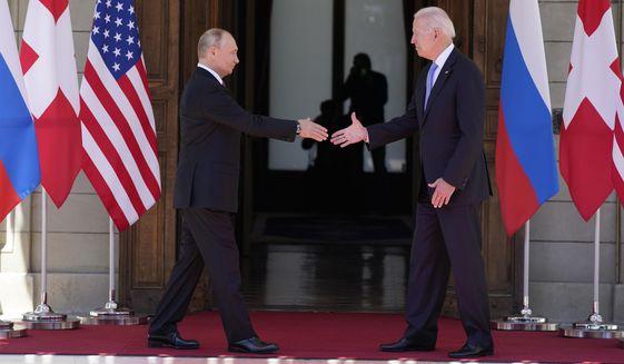 President Joe Biden and Russian President Vladimir Putin, arrive to meet at the 'Villa la Grange', Wednesday, June 16, 2021, in Geneva, Switzerland. (AP Photo/Patrick Semansky)