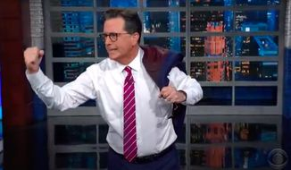 """Late-night comedian Stephen Colbert on Wednesday ribbed President Biden's """"Grandpa's had it with your lip"""" attitude during his press conference in Geneva. (Screengrab taken June 17, 2021, via YouTube/@The Late Show with Stephen Colbert)"""