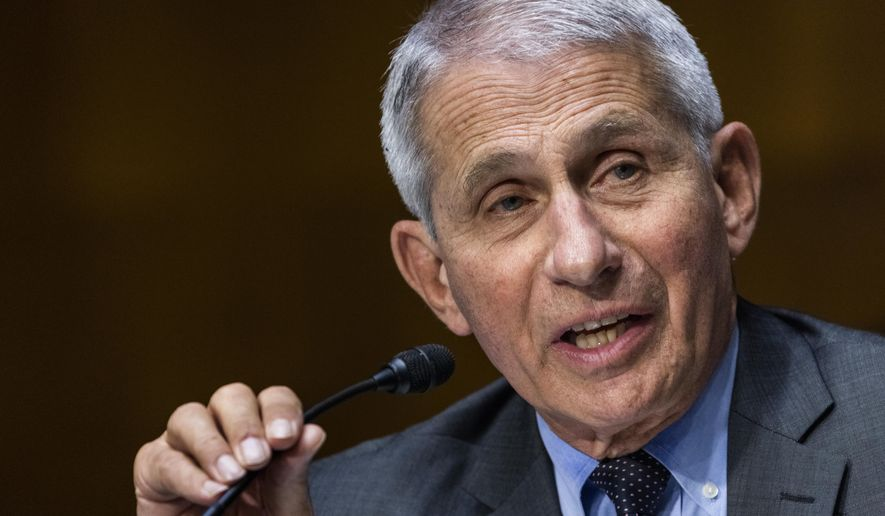 In this May 11, 2021, file photo, Dr. Anthony Fauci, director of the National Institute of Allergy and Infectious Diseases, speaks during hearing on Capitol Hill in Washington. (Jim Lo Scalzo/Pool Photo via AP, File)