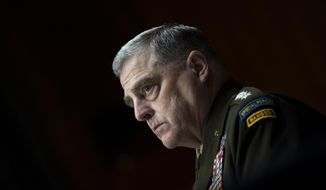 Chairman of the Joint Chiefs Chairman Gen. Mark Milley testifies before a Senate Appropriations Committee hearing to examine proposed budget estimates and justification for fiscal year 2022 for the Department of Defense in Washington on Thursday, June 17, 2021. (Caroline Brehman/Pool via AP) **FILE**