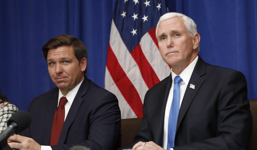 Vice President Mike Pence and Florida Gov. Ron DeSantis are among the many speakers at the Road to Majority policy conference in Orlando, Florida, organized by the Faith & Freedom Coalition. (AP Photo/Terry Renna)