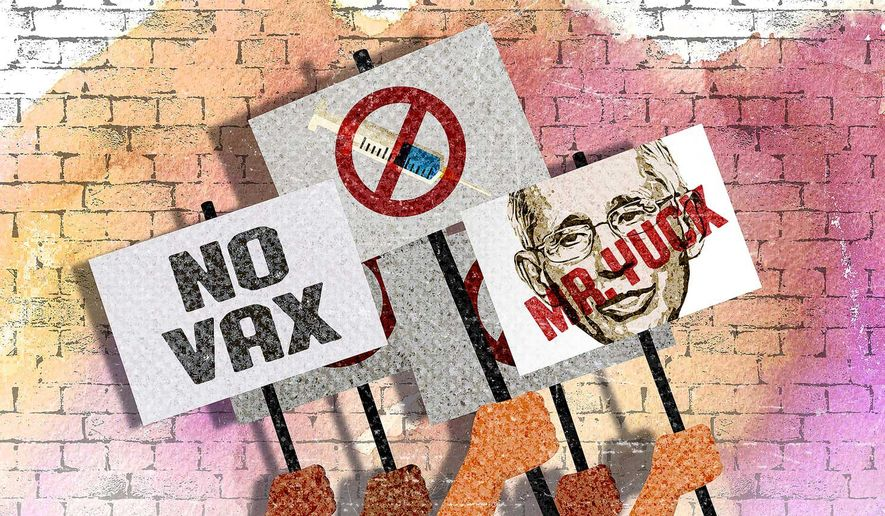 Protesting Mandatory COVID-19 Vaccines and Masks at Colleges Illustration by Greg Groesch/The Washington Times