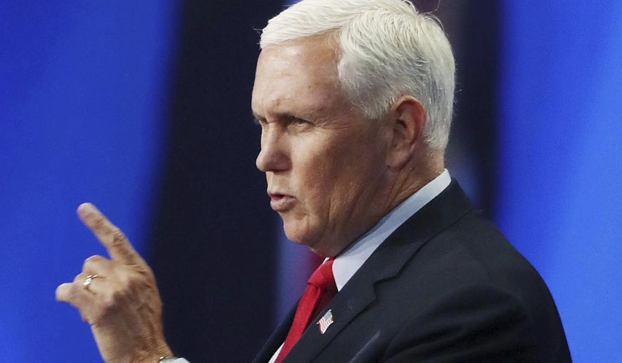 Former vice president Mike Pence speaks during the Road to Majority convention at Gaylord Palms Resort & Convention Center in Kissimmee, Fla., on Friday, June 18, 2021. (Stephen M. Dowell /Orlando Sentinel via AP)
