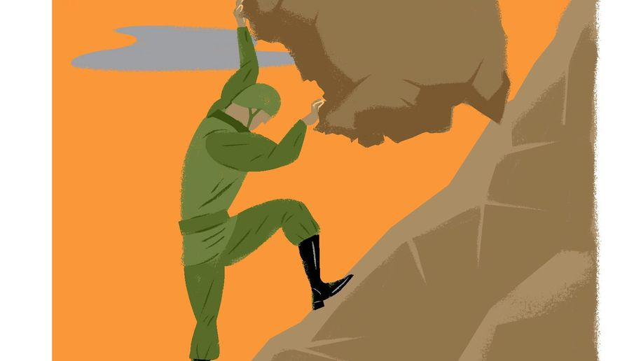 Illustration on ending U.S. involvement in Afghanistan by Linas Garsys/The Washington Times