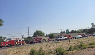 This Saturday, June 19, 221, photo released by the Timber Mesa Fire and Medical District shows emergency personnel at the scene of a mass casualty incident near Downtown 9 in Show Low, Ariz., Saturday, June 19, 2021. Police say a driver in a pickup truck has plowed into bicyclists competing in a community road race in Arizona, critically injuring several riders. Authorities say officers then chased down the driver and shot him outside a nearby hardware store. Police say six cyclists have been taken to a hospital in critical condition after the crash in the mountain town, northeast of Phoenix. The 35-year-old suspect also has been hospitalized in critical condition. (Timber Mesa Fire and Medical District via AP)