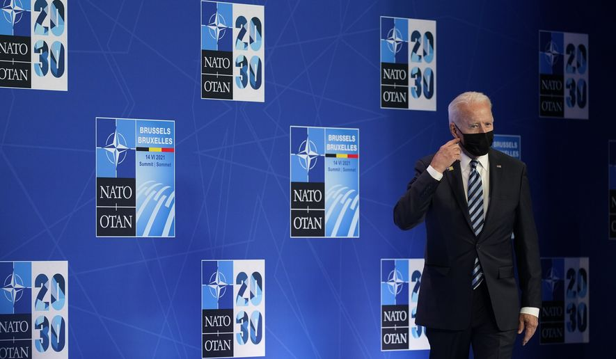 President Joe Biden arrives at a news conference after attending the NATO summit at NATO headquarters in Brussels, Monday, June 14, 2021. (AP Photo/Patrick Semansky)