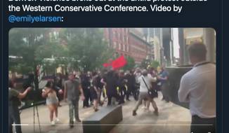 A screen capture from independent journalist Andy Ngo's Twitter account, taken June 19, 2021. Video shown in tweet via Emily Brooks of the Washington Examiner. (Twitter.com/MrAndyNgo)