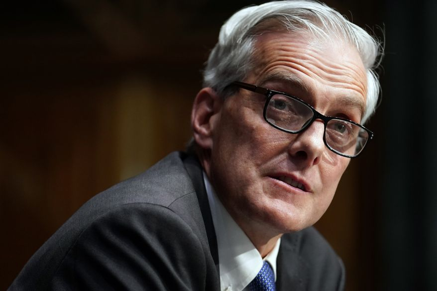 In this Wednesday, Jan. 27, 2021, file photo, Secretary of Veterans Affairs nominee Denis McDonough speaks during his confirmation hearing before the Senate Committee on Veterans' Affairs on Capitol Hill, in Washington. In an announcement Saturday, June 19, 2021, McDonough said that the Department of Veterans Affairs is moving to offer transgender veterans gender confirmation surgery. (Sarah Silbiger/Pool Photo via AP, File)