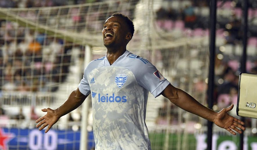 D.C. United forward Ola Kamara celebrates a goal against Inter Miami during the second half of an MLS soccer match Saturday, May 29, 2021 in Fort Lauderdale, Fla. (AP Photo/Jim Rassol) **FILE**
