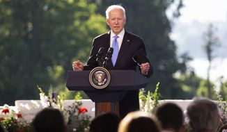 US president Joe Biden addresses the media during his closing press conference at the end of the US - Russia summit in Geneva, Switzerland, Wednesday, June 16, 2021. (Peter Klaunzer/Keystone via AP, Pool)