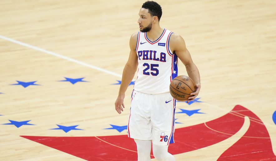 Philadelphia 76ers' Ben Simmons plays during Game 7 in a second-round NBA basketball playoff series against the Atlanta Hawks, Sunday, June 20, 2021, in Philadelphia. (AP Photo/Matt Slocum)