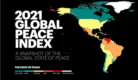 The U.S. has been ranked the 122nd most peaceful nation onEarth according to the annual Global Peace Index, which gauges the peacefulness of 163 nations. (Image courtesy of Institute for Economics and Peace).