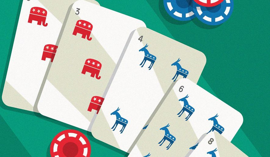 Illustration on Republican political strategy by Linas Garsys/The Washington times