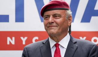 Republican mayoral candidate Curtis Sliwa smiles during a campaign event, Monday, June 21, 2021, in New York. Former New York City Mayor Rudy Giuliani endorsed Sliwa. (AP Photo/Mary Altaffer)