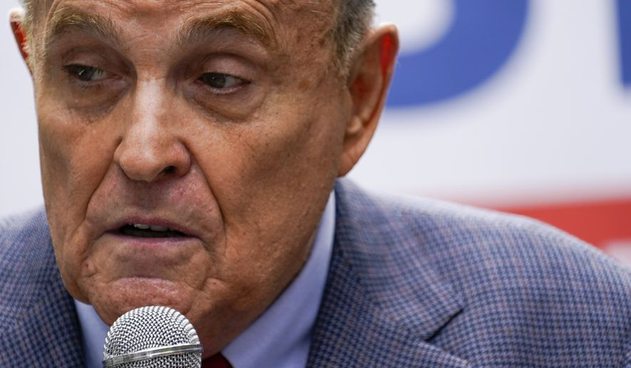 Former New York City Mayor Rudy Giuliani speaks during a campaign event for Republican mayoral candidate Curtis Sliwa, Monday, June 21, 2021, in New York. Giuliani endorsed Sliwa in his bid for mayor. (AP Photo/Mary Altaffer) **FILE**