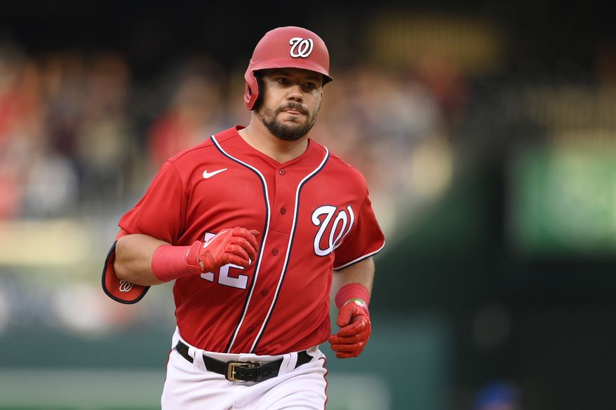 Washington Nationals' Kyle Schwarber rounds the bases on his three-run home run during the fourth inning of the second baseball game of a doubleheader against the New York Mets, Saturday, June 19, 2021, in Washington. (AP Photo/Nick Wass) **FILE**