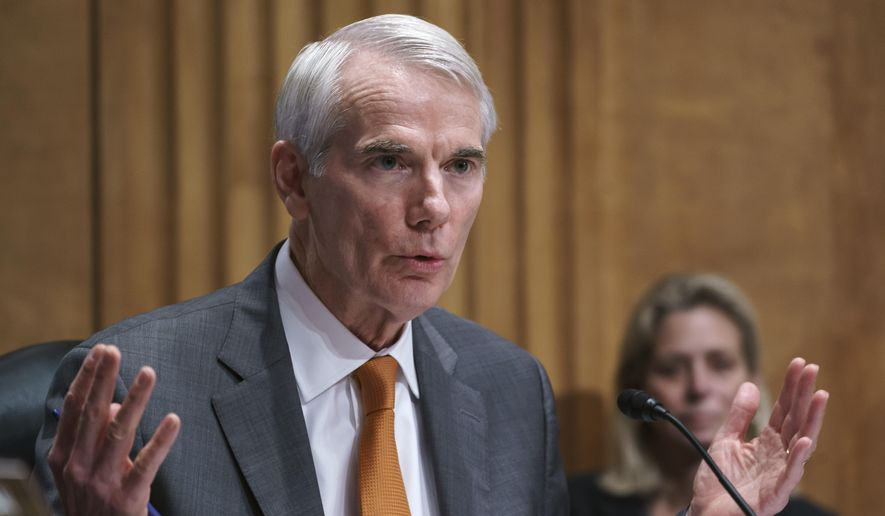 Sen. Rob Portman, R-Ohio, speaks during a Senate Homeland Security Committee hearing at the Capitol in Washington, Thursday, June 10, 2021. Portman is working with a bipartisan group of 10 senators negotiating an infrastructure deal with President Joe Biden. (AP Photo/J. Scott Applewhite)