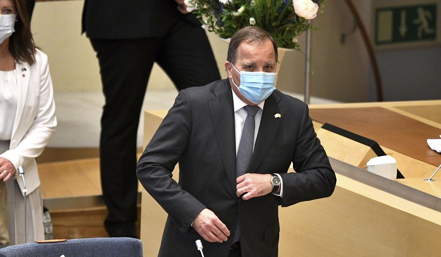 Sweden's Prime Minister Stefan Lofven before a confidence vote in the Swedish Parliament in Stockholm, Sweden, Monday, June 21, 2021. (Anders Wiklund / TT via AP)