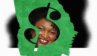 Illustration on Stacey Abrams and Georgia's  financial losses by Alexander Hunter/The Washington Times
