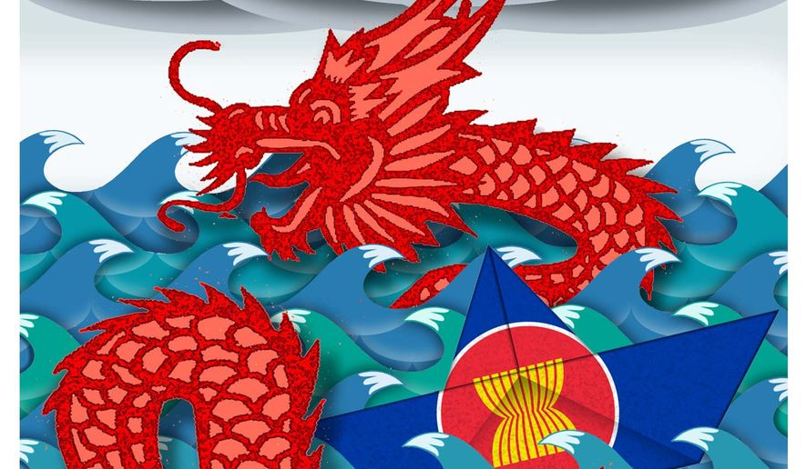 Illustration on ASEAN and China by Alexander Hunter/The Washington Times