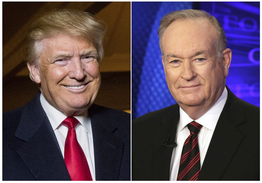 """This combination photo shows Donald Trump and former Fox News host Bill O'Reilly, compiled in 2015 to announce  Mr. O'Reilly's book """"The United States of Trump: How the President Really Sees America."""" The pair will join up for a four-city tour in December. (Associated Press)"""