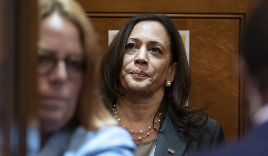 Vice President Kamala Harris departs in an elevator after the Senate voted on a key test vote on the For the People Act, a sweeping bill that would overhaul the election system and voting rights, at the Capitol in Washington, Tuesday, June 22, 2021. The bill is a top priority for Democrats seeking to ensure access to the polls and mail in ballots, but it is opposed by Republicans as a federal overreach. (AP Photo/Alex Brandon)