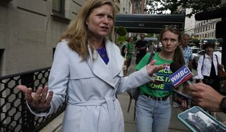 Democrat mayoral candidate Kathryn Garcia talks with the media on New York's Upper West Side, Tuesday, June 22, 2021. The final votes are set to be cast Tuesday in New York's party primaries, where mayors, prosecutors, judges and city and county legislators will be on the ballot, along with other municipal offices. (AP Photo/Richard Drew)