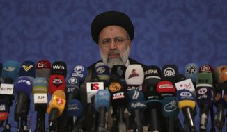 This Monday, June 21, 2021 photo shows Iran's new President-elect Ebrahim Raisi during a news conference in Tehran, Iran. (AP Photo/Vahid Salemi, File)