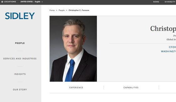 Screen capture of Christopher Fonzone's profile page at Sidley Austin LLP. Mr. Fonzone was confirmed by the U.S. Senate on June 22, 2021, to general counsel for the Office of the Director of National Intelligence, over the objections of Senate Republicans who expressed concern about his previous legal work for Huawei, a Chinese technology firm. (www.sidley.com)
