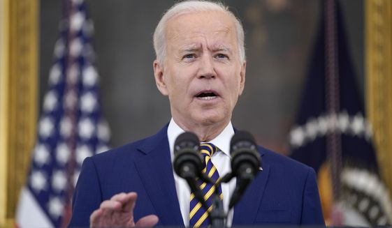 In this June 18, 2021, file photo, President Joe Biden speaks about COVID-19 vaccination shots, in the State Dining Room of the White House in Washington. The administration is releasing new data Tuesday showing it expects to reach 70% of Americans aged 27 and older with at least one shot by the July 4 holiday. (AP Photo/Evan Vucci)