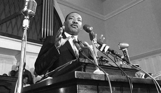 In this 1960 file photo, the Rev. Martin Luther King Jr. speaks in Atlanta. (AP Photo, File)
