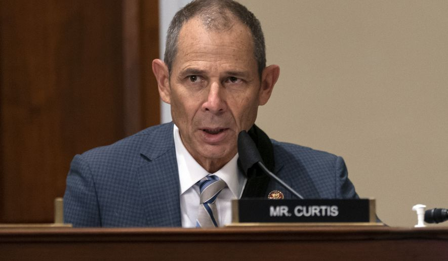 Rep. John Curtis, R-Utah, ranking member of the House Committee on Natural Resources, Subcommittee on National Parks, Forests, and Public Lands talks speaks during a hearing on Capitol Hill in Washington, Tuesday, July 21, 2020, to consider bills, H.R. 970 H.R. 4135 H.R. 7550, to remove Confederate statues. (AP Photo/Carolyn Kaster) **FILE**