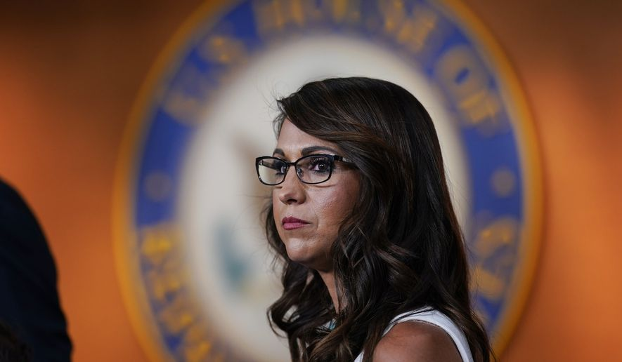 Rep. Lauren Boebert, R-Colo., pauses during a news conference to announce her resolution to censure President Joe Biden, claiming he is not enforcing border security and immigration laws, at the Capitol in Washington, Wednesday, June 23, 2021. A group of conservative Republicans also had criticism for Vice President Kamala Harris who is set to make her first visit to the U.S. Mexico border since taking office. (AP Photo/J. Scott Applewhite)