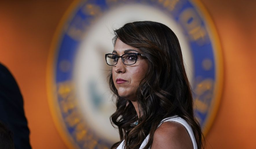 Rep. Lauren Boebert, R-Colo., pauses during a news conference to announce her resolution to censure President Joe Biden, claiming he is not enforcing border security and immigration laws, at the Capitol in Washington, Wednesday, June 23, 2021. A group of conservative Republicans also had criticism for Vice President Kamala Harris who is set to make her first visit to the U.S.-Mexico border since taking office. (AP Photo/J. Scott Applewhite) **FILE**