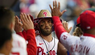 Philadelphia Phillies' Bryce Harper reacts after hitting a home run during a baseball game against the Washington Nationals, Tuesday, June 22, 2021, in Philadelphia. (AP Photo/Matt Slocum) **FILE**