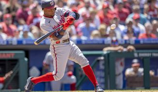 Washington Nationals' Victor Robles (16) in action during a baseball game against the Philadelphia Phillies, Wednesday, June 23, 2021, in Philadelphia. (AP Photo/Laurence Kesterson)