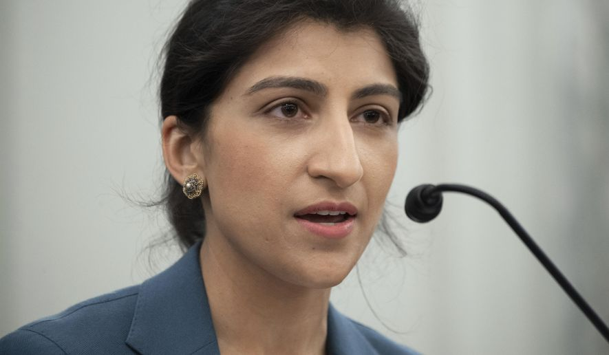 In this April 21, 2021, file photo, Lina Khan, speaks during a Senate Committee on Commerce, Science, and Transportation confirmation hearing on Capitol Hill in Washington. (Saul Loeb/Pool via AP) ** FILE **