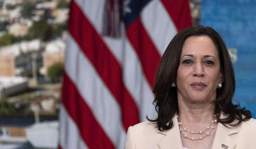 Vice President Kamala Harris makes an appearance in the Eisenhower Executive Office Building auditorium on the White House complex in Washington on June 15. (AP Photo/Jacquelyn Martin)