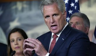 In this Wednesday, June 23, 2021. file photo, House Minority Leader Kevin McCarthy, R-Calif., joined at left by House Republican Conference Chair Elise Stefanik, R-N.Y., holds a news conference. (AP Photo/J. Scott Applewhite, File)  **FILE**